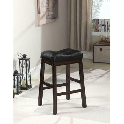 See Details - Black and Dark Cherry Upholstered Counter Stool