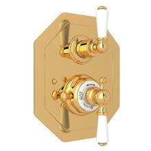 English Gold Perrin & Rowe Edwardian Octagonal Concealed Thermostatic Trim With Volume Control with Edwardian Metal Lever