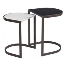Stanton Nesting End Tables Black Stone & Antique Brass