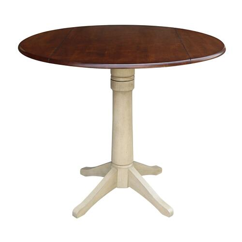 Round Dropleaf Pedestal Table in Espresso / Almond