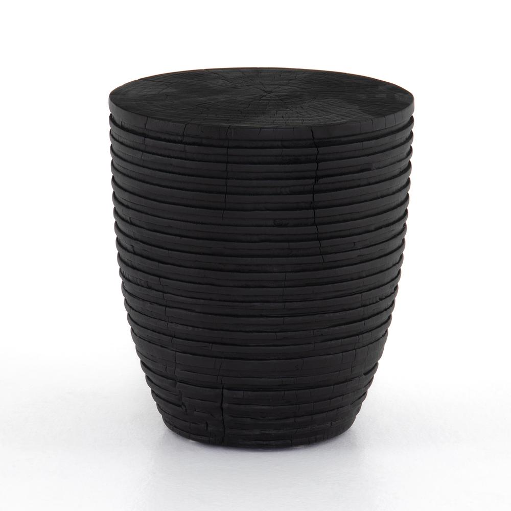 Gerri Accent Stool-ribbed Black Suar