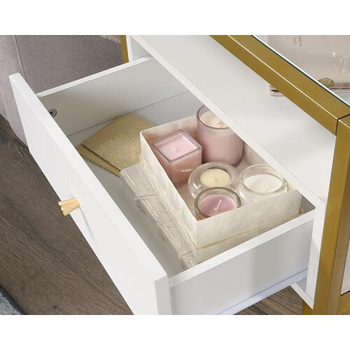 Contemporary Glass Top Side Table with Storage