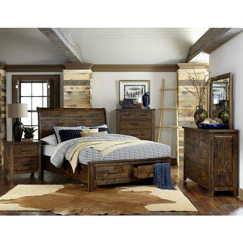 Gallery - California King Sleigh Platform Bed with Footboard Storage