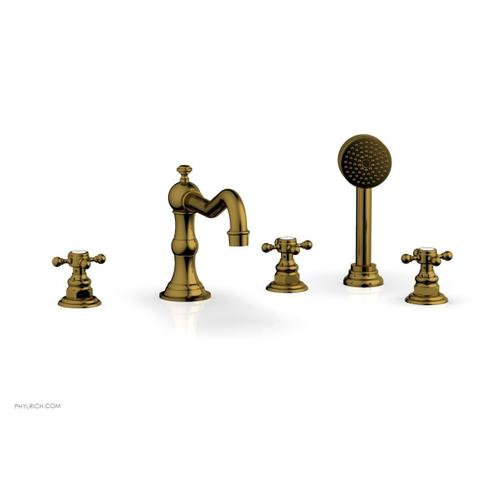 HENRI Deck Tub Set with Hand Shower with Cross Handles 161-48 - French Brass