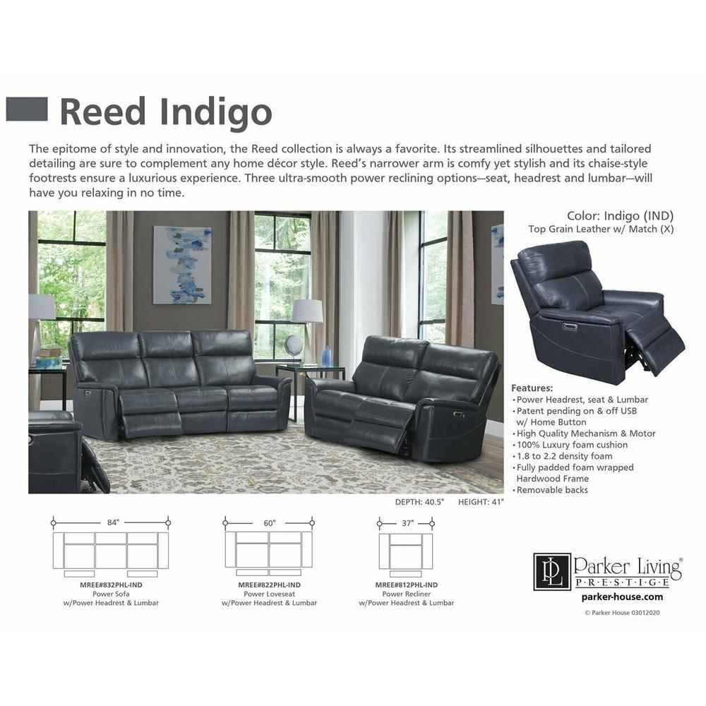 Product Image - REED - INDIGO Power Sofa
