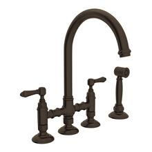 Tuscan Brass San Julio Deck Mount C-Spout 3 Leg Bridge Kitchen Faucet With Sidespray with Metal Lever