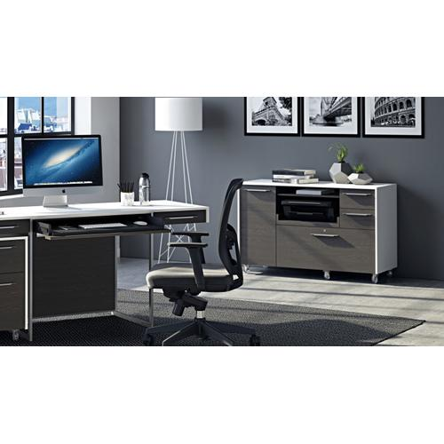 BDI Furniture - Format 6320 Multifunction Cabinet in Charcoal Stained Ash Satin White