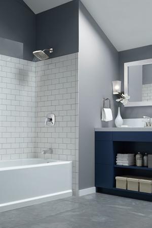 Chrome Two Handle Centerset Bathroom Faucet - Metal Pop-Up Product Image