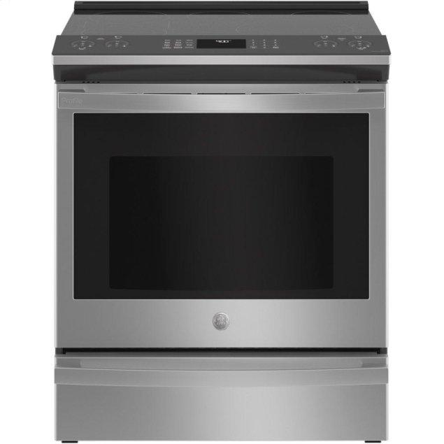 """GE GE Profile™ 30"""" Smart Slide-In Electric Convection Fingerprint Resistant Range with No Preheat Air Fry"""