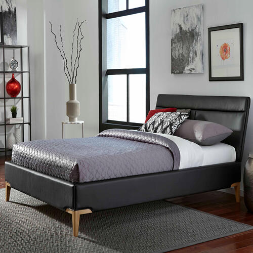 Fashion Bed Group - Lakeview Complete Platform Bed with Upholstered Frame and Exposed Wood Legs, Obsidian Finish, King