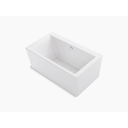 "White 60"" X 34"" Freestanding Bath With Straight Shroud and Center Drain"