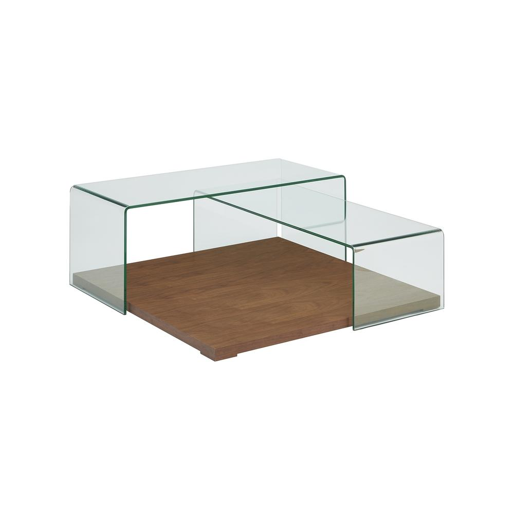 The Kinetic Coffee Table In Walnut Veneer With Clear Glass
