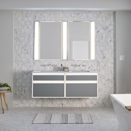 "Profiles 30-1/8"" X 7-1/2"" X 21-3/4"" Modular Vanity In Satin White With Chrome Finish and Slow-close Tip Out Drawer"