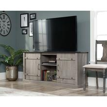 View Product - Mystic Oak TV Credenza with Black Accent Top