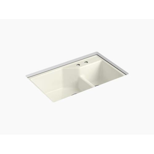 """Biscuit 33"""" X 21-1/8"""" X 9-3/4"""" Smart Divide Undermount Large/small Double-bowl Workstation Kitchen Sink With 2 Faucet Holes"""