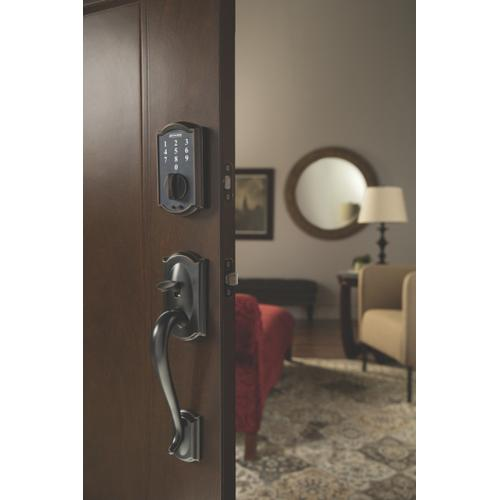 Schlage - Schlage Touch Keyless Touchscreen Deadbolt with Camelot trim paired with Camelot Handleset and Flair Lever with Camelot trim - Aged Bronze