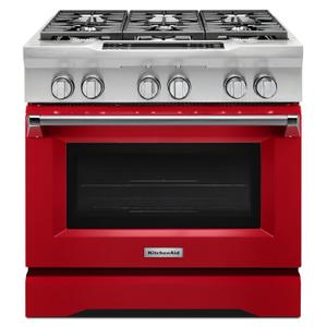 Kitchenaid36'' 6-Burner Dual Fuel Freestanding Range, Commercial-Style Signature Red