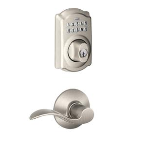 Camelot Trim Keypad Deadbolt paired with Accent Lever Hall & Closet Lock - Satin Nickel Product Image