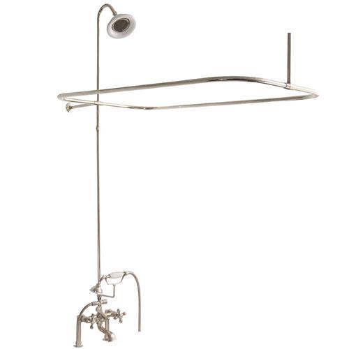 Tub/Shower Converto Unit - Elephant Spout, Shower Ring, Riser, Showerhead - Cross / Polished Nickel