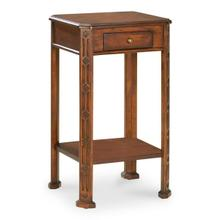 See Details - Selected solid woods and choice cherry veneers. Cherry veneer top with light cherry veneer inlay design. One drawer with antique brass finished hardware.