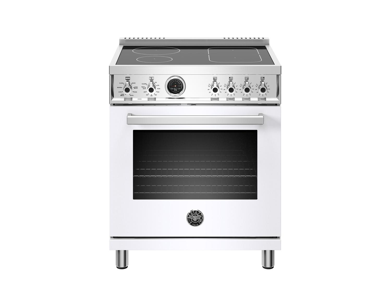Bertazzoni30 Inch Induction Range, 4 Heating Zones, Electric Self-Clean Oven Bianco