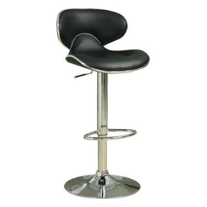 See Details - Contemporary Chrome and Black Adjustable Bar Stool