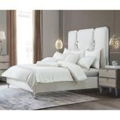 Queen Upholstered Panel Bed W/crystals (3 Pc)