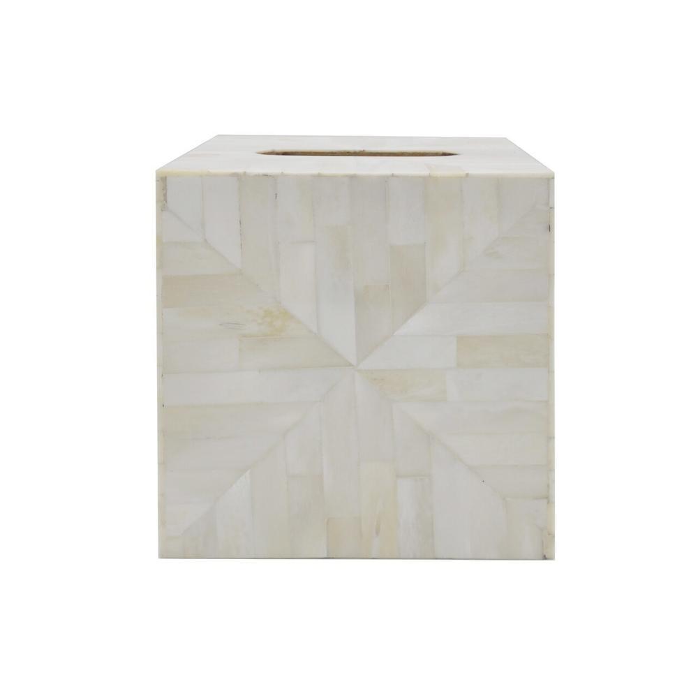 Tissue Box Cover In Natural Bone