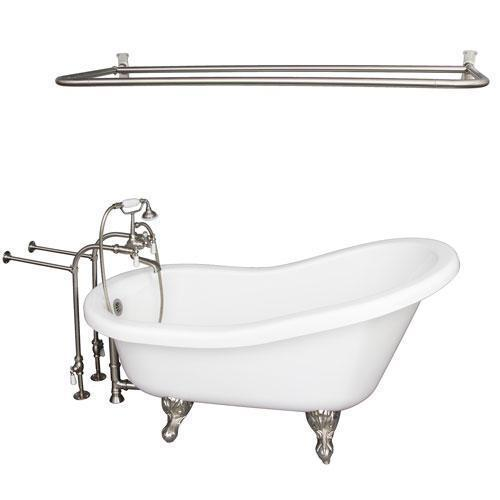"""Fillmore 60"""" Acrylic Slipper Tub Kit in White - Brushed Nickel Accessories"""