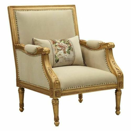 ACME Daesha Accent Chair & Pillow - 50838 - Fabric & Antique Gold