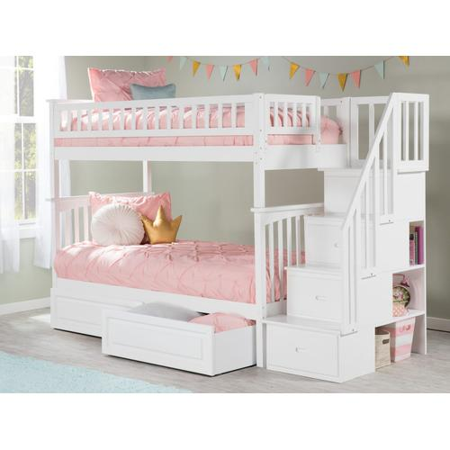 Atlantic Furniture - Columbia Staircase Bunk Bed Twin over Twin with Raised Panel Bed Drawers in White