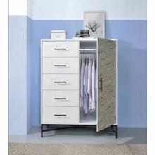 ACME Uma Wardrobe - 97453 - White & Weathered Wood Pattern