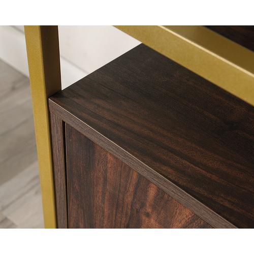 Contemporary Glass-Top TV Credenza with Doors
