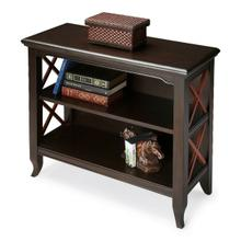 See Details - This stylish two-tone transitional bookcase is a wonderful accent in a living room, family room, hallway or home office. Made for smaller spaces, versatility is one of its key attributes. Crafted from select hardwood solids and wood products, it features X-shaped cherry finished side supports in elegant contrast with the black finish of the rest of the piece. The top and shelves are made from choice birch veneer. Shelves are fixed. Shelf dimensions: Middle- 26 1/2 'W, 11 'D, 9 1/4 'H (to top); Lower- 26 1/2 'W, 11 'D, 9 3/4 'H (to middle shelf)