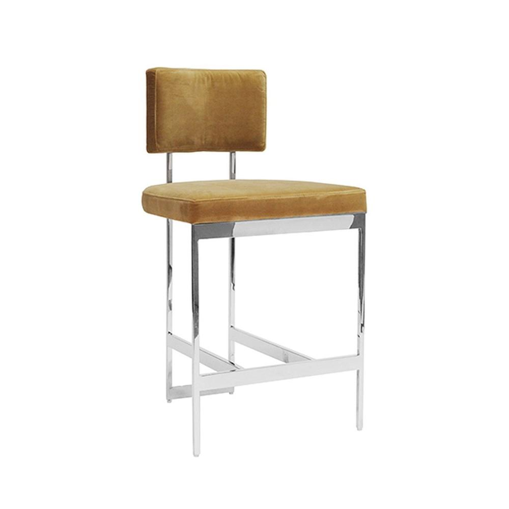 The Clean Lines and Simple Geometry of Our Baylor Counter Height Stool Are Inspired By Early European Modernists. A Luxurious Camel Velvet Cushion Pairs Elegantly With the Nickel Finish Base. Sturdy Back Handle Incorporated Into the Metal Frame for Easy Portability.