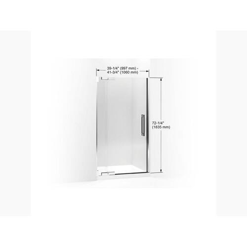 """Crystal Clear Glass With Anodized Brushed Bronze Frame Pivot Shower Door, 72-1/4"""" H X 39-1/4 - 41-3/4"""" W, With 3/8"""" Thick Crystal Clear Glass"""