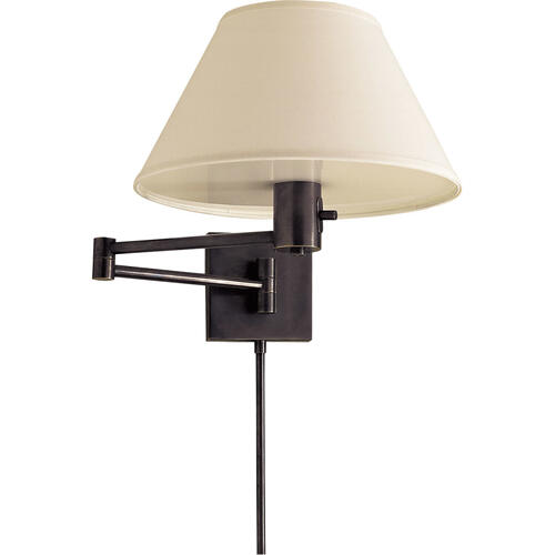 Studio Classic 25 inch 75 watt Bronze Swing-Arm Wall Light in Linen