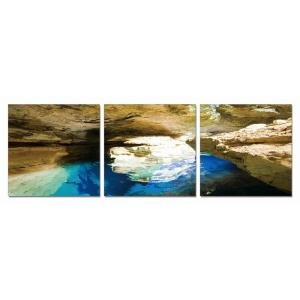 Gallery - Modrest Blue Grotto 3-Panel Photo On Canvas