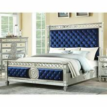 ACME Varian Eastern King Bed - 26147EK - Blue Velvet & Mirrored