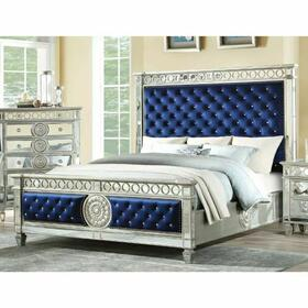 ACME Varian Eastern King Bed - 26147EK - Blue Velvet & Mirrored