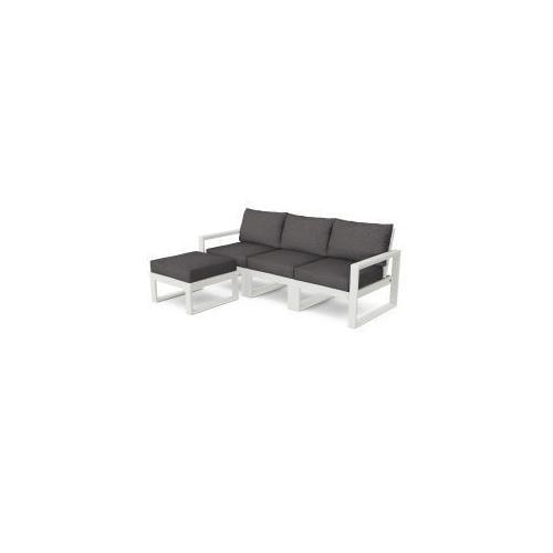 Polywood Furnishings - EDGE 4-Piece Modular Deep Seating Set with Ottoman in Vintage White / Ash Charcoal
