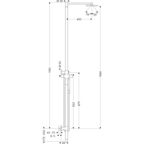 Stainless Steel Optic Shower column with thermostat and plate overhead shower 240 1jet