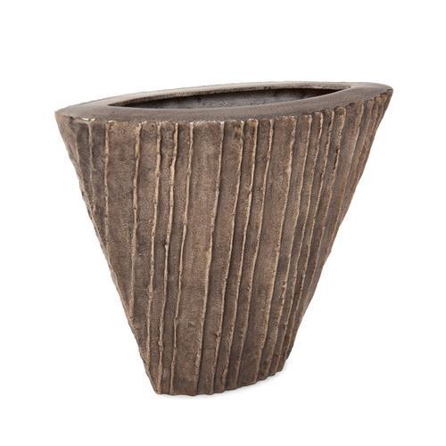 Howard Elliott - Organic Grooved Triangular Aluminum Vase