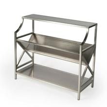See Details - Based on an Old French Librarie book shelf, this modern interpration is sure to delight any book reader. With it's silver tone iron styling, this bookcase will surely be a center piece in any office, library, or living room.