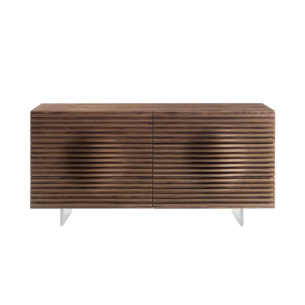 The Moon Dresser In Walnut Veneer And Brushed Stainless Steel