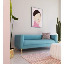 View Product - Divani Casa Putnum Modern Blue Velvet Sofa