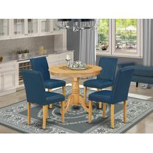 "5Pc Round 36"" Table And 4 Parson Chair With Oak Leg And Pu Leather Color Oasis"