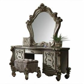 ACME Versailles Vanity Stool - 26848 - Fabric & Antique Platinum