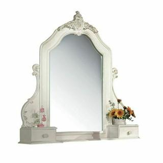 ACME Pearl Jewelry Mirror - 01019 - Pearl White & Gold Brush Accent