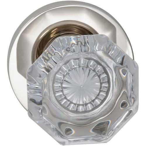 Product Image - Interior Traditional Knob Latchset with Modern Round Rose in (US14 Polished Nickel Plated, Lacquered)